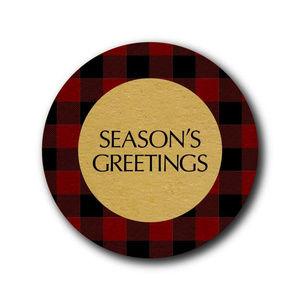 Other - Season's Greetings buffalo plaid stickers